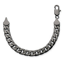 "Men's Curb-Link Chain Bracelet Black Ruthenium-Plated 10"" (12mm)"