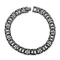 Men's CZ Mariner-Link Bracelet Black Ruthenium-Plated 8.75 Inch ONLY $17.99