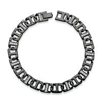 Men's CZ 10 Mm Mariner-Link Bracelet Black Ruthenium-Plated ONLY $14.99