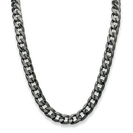 Men's Curb-Link Chain Necklace Black Ruthenium-Plated 30