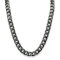 "Men's Curb-Link Chain Necklace Black Ruthenium-Plated 30"" (12mm)"