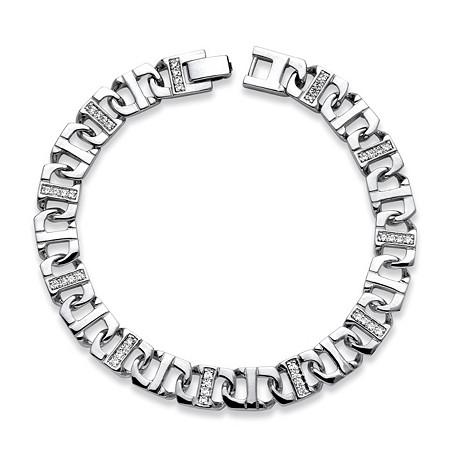 Men's 1.10 TCW Cubic Zirconia Mariner-Link Bracelet in in Silvertone 9.75