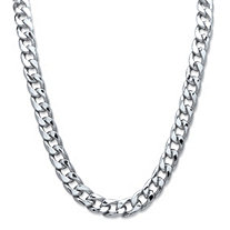 "Men's Curb-Link Chain Necklace in Silvertone 30"" (12mm)"