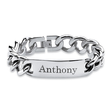 Men's 15 mm Personalized I.D. Curb-Link Bracelet in Stainless Steel 10