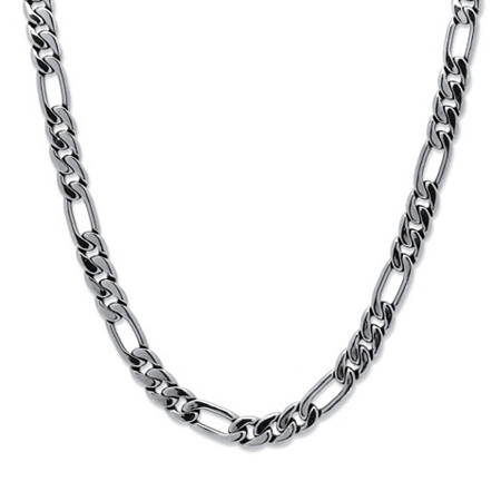 "Men's Figaro-Link Chain Necklace in Silvertone 24"" (10.5mm) at PalmBeach Jewelry"