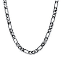 "Men's Figaro-Link Chain Necklace in Silvertone 24"" (10.5mm)"