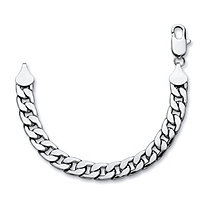 "Men's Curb-Link Chain Bracelet in Silvertone 9"" (15mm)"