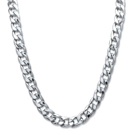 "Men's Curb-Link Chain Necklace in Silvertone 24"" (15mm) at PalmBeach Jewelry"