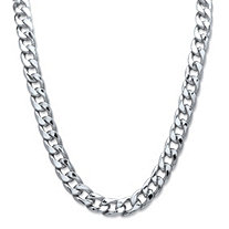 "Men's Curb-Link Chain Necklace in Silvertone 30"" (15mm)"