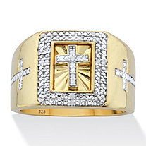 SETA JEWELRY Men's 1/10 TCW Diamond Cross Two-Tone Square Ring in 14k Gold over Sterling Silver