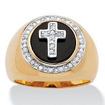 Men's 1/10 TCW Diamond and Bezel-Set Onyx Halo Cross Ring in 14 Gold over Sterling Silver