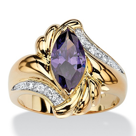 2.05 TCW Marquise-Cut Simulated Purple Amethyst Bypass Cocktail Ring 14k Gold-Plated at PalmBeach Jewelry