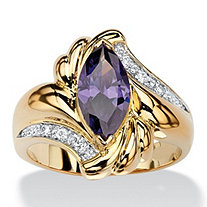 2.05 TCW Marquise-Cut Simulated Purple Amethyst Bypass Cocktail Ring 14k Gold-Plated