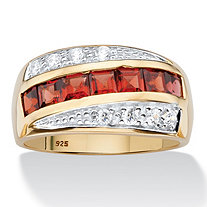 Men's 1.67 TCW Square-Cut Garnet and Pave-Style CZ 14k Gold over Sterling Silver Channel-Set Ring