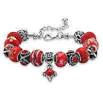 Round Red Crystal Silvertone Bali-Style Beaded Charm and Spacer Bracelet 8