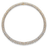 SETA JEWELRY 1 TCW Diamond Snake-Link 18k Gold-Plated Collar Necklace 18