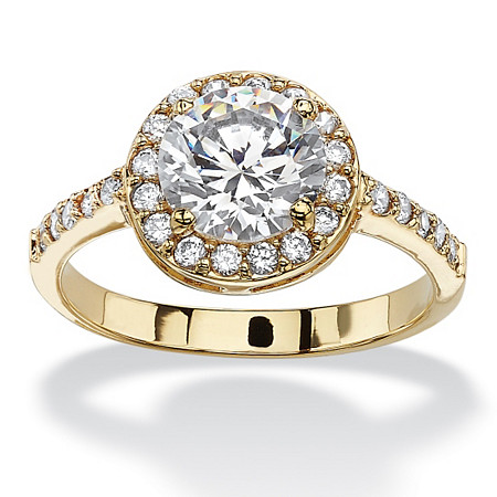 2.52 TCW Round and Pave Cubic Zirconia 18k Yellow Gold-Plated Halo Ring at PalmBeach Jewelry