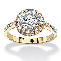 2.52 TCW Round and Pave Cubic Zirconia 18k Yellow Gold-Plated Halo Ring