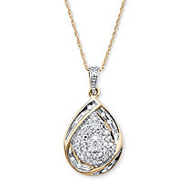 1/7 TCW Diamond Cluster Ribbon Loop Pendant Necklace in 18k Gold over Sterling Silver 18""