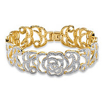 Diamond Accent 18k Yellow Gold-Plated Floral Motif Interlocking-Link Bracelet 7 1/4