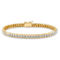 SETA JEWELRY White Diamond Accent Two-Tone Box-Link Tennis Bracelet 18k Gold-Plated 7.25