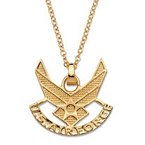 SETA JEWELRY Air Force Pendant Necklace 14k Gold-Plated 20