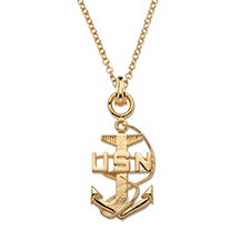 Navy Pendant Necklace 14k Gold-Plated 20""