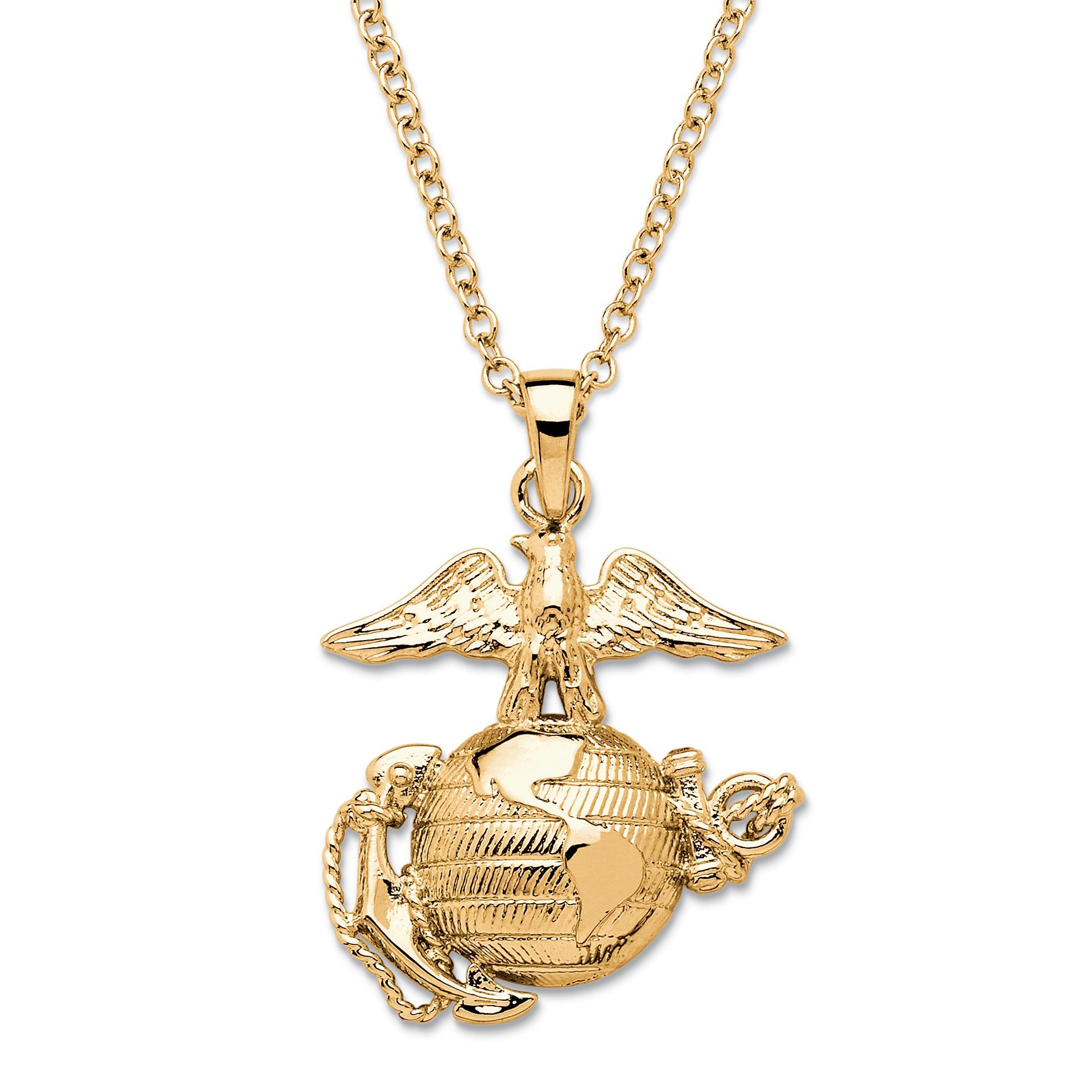 marine corps pendant necklace 14k gold plated 20 at. Black Bedroom Furniture Sets. Home Design Ideas