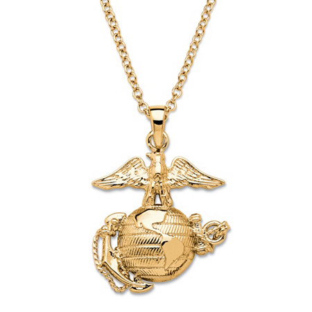 "Marine Corps Pendant Necklace 14k Gold-Plated 20"" at PalmBeach Jewelry"