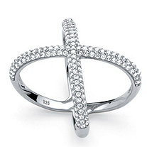 ".78 TCW Micro-Pave Cubic Zirconia Designer-Inspired ""X"" Ring in Sterling Silver"
