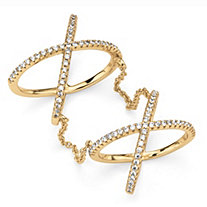 .88 TCW Micro-Pave Cubic Zirconia Crisscross Knuckle Ring in 14k Gold over Sterling Silver