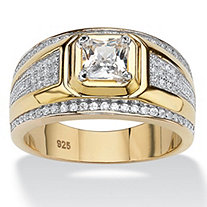 Men's 1.12 TCW Square-Cut and Pave Cubic Zirconia Ring in 14k Gold over Sterling Silver