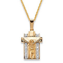 Men's 1/10 TCW Diamond Two-Tone 18k Gold over .925 Sterling Silver Crucifix Pendant Necklace 20