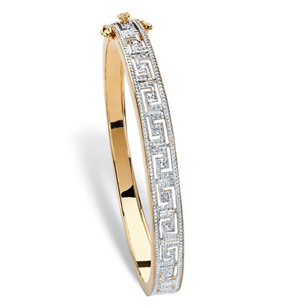 "Diamond Accent Two-Tone Greek Key-Link Bangle Bracelet 18k Yellow Gold-Plated 7.5"" at PalmBeach Jewelry"
