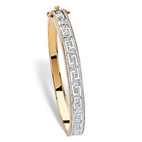Diamond Accent Two-Tone Greek Key-Link Bangle Bracelet 18k Yellow Gold-Plated 7.5""