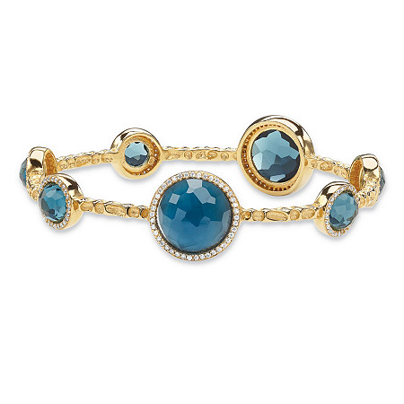 Bezel-Set Round London Blue Glass and CZ Halo Bangle Bracelet 1 TCW 14k Gold-Plated 9 1/4