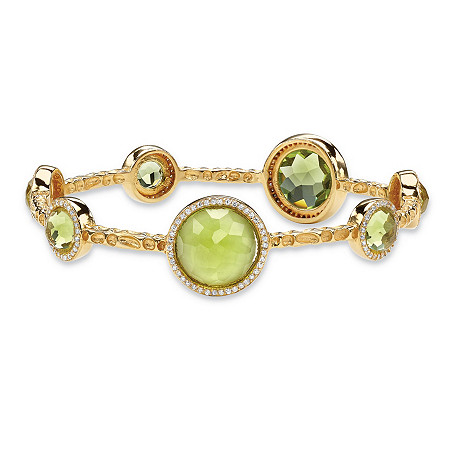 Bezel-Set Round Lemon Green Glass and CZ Halo Bangle Bracelet 1 TCW 14k Gold-Plated 9 1/4