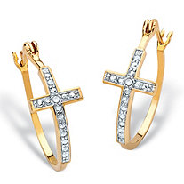 "White Diamond Accent Two-Tone Cross Hoop Earrings 18k Gold-Plate (1 1/4"")"