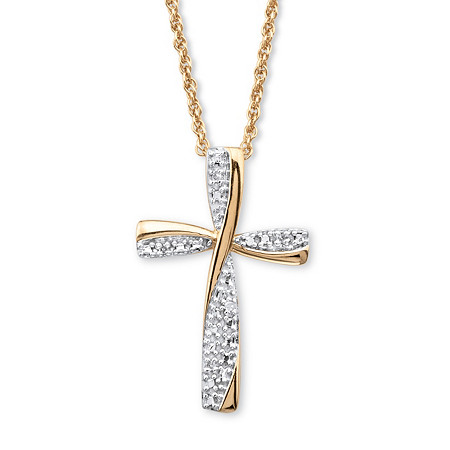 "Diamond Accent Two-Tone Cross Pendant Necklace in 18k Gold over Sterling Silver  18"" at PalmBeach Jewelry"