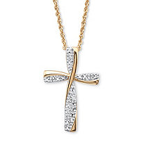 Diamond Accent Two-Tone Cross Pendant Necklace in 18k Gold over Sterling Silver 18""