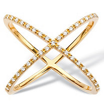 "1/5 TCW Diamond Crisscross Designer-Inspired ""X"" Ring in 18k Gold over Sterling Silver"