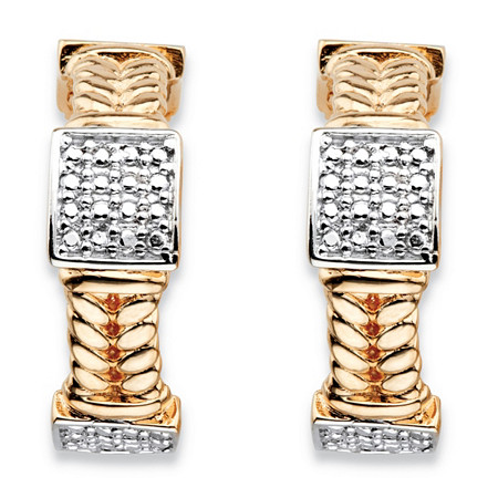 Round Diamond Accent 18k Gold-Plated Braided Link C-Hoop Square Cluster Earrings at PalmBeach Jewelry