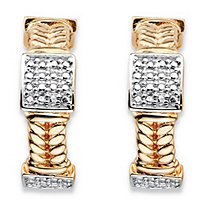 "Round Diamond Accent 18k Gold-Plated Braided Link C-Hoop Square Cluster Earrings (1"")"