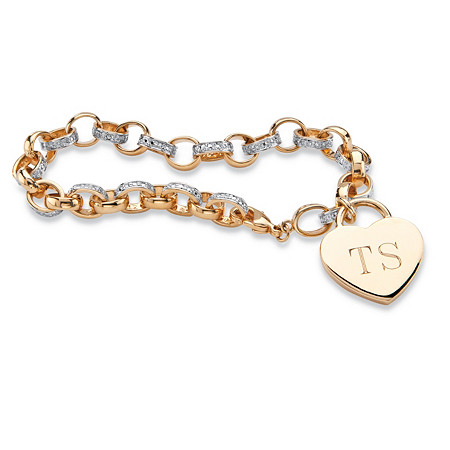 Diamond Accent Personalized Heart Rolo-Link Bracelet 18k Yellow Gold-Plated 7.5