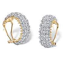 "1/10 TCW Diamond Cluster Semi-Hoop Earrings 18k Yellow Gold-Plated (1"")"