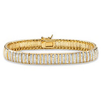 1 TCW Round Diamond 18k Gold-Plated Bar-Link Bracelet 7.5""
