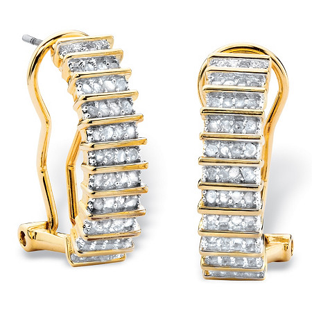 1/2 TCW Round Diamond Bar-Link C-Hoop Earrings 18k Yellow Gold-Plated (3/4