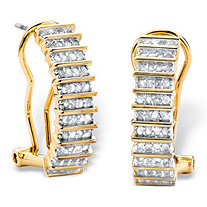 1/2 TCW Round Diamond Bar-Link C-Hoop Earrings 18k Yellow Gold-Plated