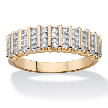 1/4 TCW Round Diamond Classic Bar-Link Ring 18k Yellow Gold-Plated at PalmBeach Jewelry