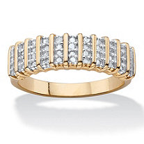 1/4 TCW Round Diamond Classic Bar-Link Ring 18k Yellow Gold-Plated